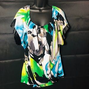 EXPRESS BLUE & GREEN TROPICAL SCOOP NECK BLOUSE